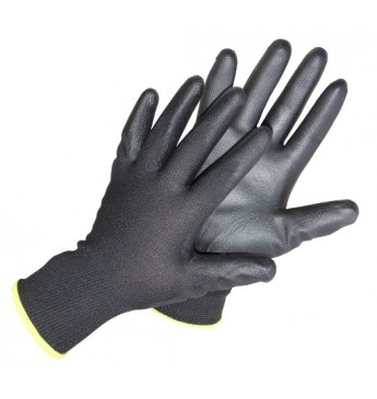 Polyester gloves size 10 in black, polyurethane palm