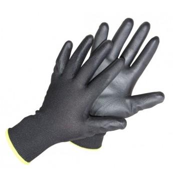 Polüesterkindad polüuretaanist peopesaga, mustad, suurus  nr 9, 12 paari