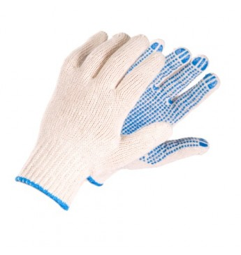 Knitted gloves with PVC, white, 700g, Size 13