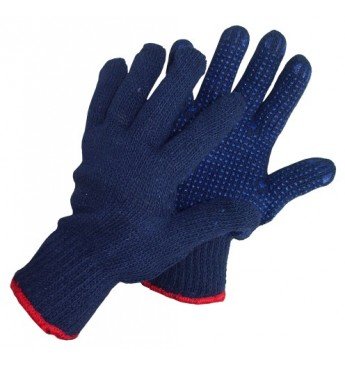 Knitted gloves with PVC, white, 750g, Size 14