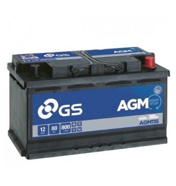 Aku GS YUASA 80Ah AGM115 12V 800A 317x175x190mm